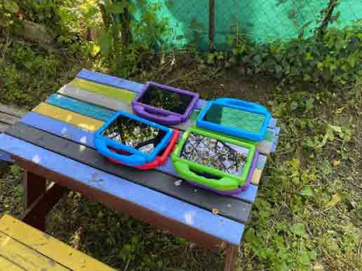 Tablettes misent en place dans le jardin des orge momes